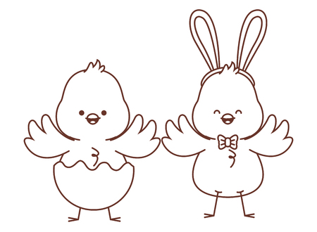 Happy farm animals chicks pair wearing eggshell easter season drawing black and white outline vector illustration graphic design