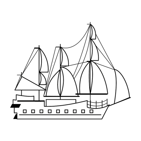Pirate ship boat side view isolated cartoon vector illustration graphic design Illustration