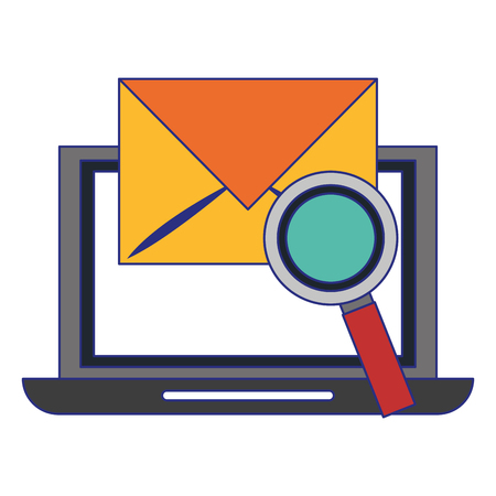 Laptop email and magnifying glass vector illustration graphic design
