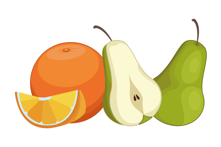 Fresh and delicious tropical pears and orange fruits vector illustration graphic design