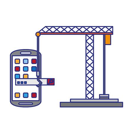 Smartphone operative system coding software under construction symbols vector illustration graphic design