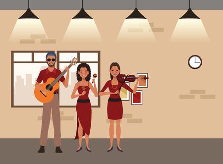 musician playing guitar violin and maracas avatar cartoon character indoor rehearsal room vector illustration graphic design Illusztráció