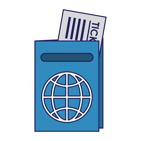 Passport with flight ticket symbol vector illustration graphic design