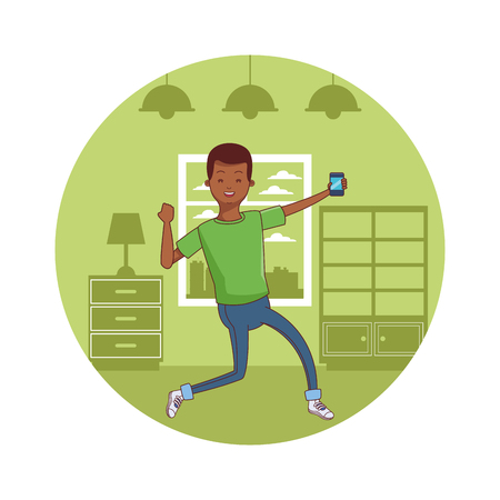 young casual afro american black man excited using smartphone device at furniture house room scene cartoon vector illustration graphic design