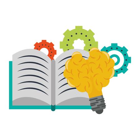 Buchen Sie offen mit Zahnrädern und Glühbirne Licht Gehirn Form Vektor Illustration Grafikdesign