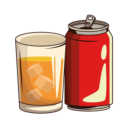 glass with drink and soda can icon cartoon vector illustration graphic design