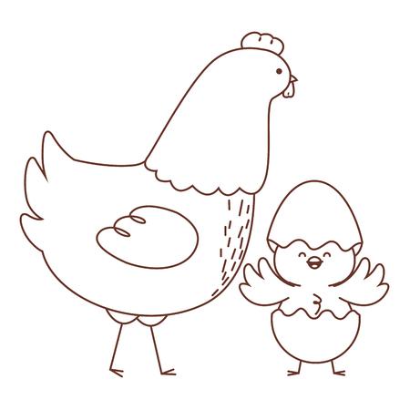 Animales de granja feliz gallina y pollito con cáscara de huevo temporada de pascua dibujo diseño gráfico de ilustración de vector de contorno blanco y negro