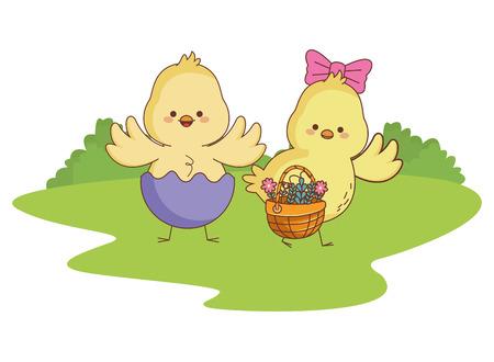 Felices los polluelos de los animales de la granja se emparejan con la cáscara de huevo que lleva el dibujo de la temporada de pascua de la cesta de mimbre en la hierba con el diseño gráfico del ejemplo del vector del paisaje del icono redondo de los árboles Ilustración de vector