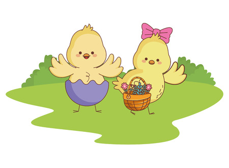 Happy farm animals chicks pair wearing eggshell carrying wicker basket easter season drawing  on grass with trees round icon scenery vector illustration graphic design