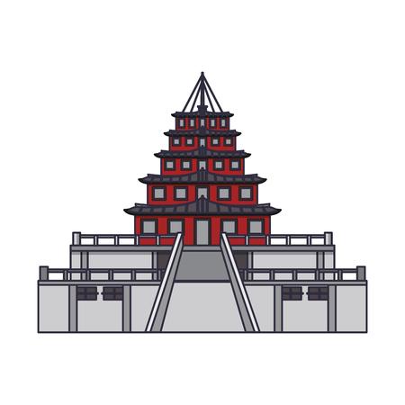Diseño gráfico del ejemplo del vector aislado de la historieta del icono del palacio oriental Ilustración de vector
