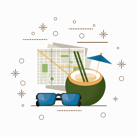 Travel and tourism coconut map and sunglasses cartoons with stars background vector illustration graphic design