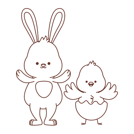 Happy farm animals white bunny and chick wearing eggshell easter season drawing black and white outline vector illustration graphic design
