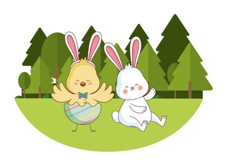 Happy farm animals white bunny and chick wearing eggshell easter season drawing  on grass with trees scenery vector illustration graphic design