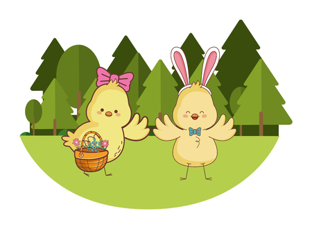 Happy farm animals chicks pair carrying wicker basket easter season drawing on grass with trees scenery vector illustration graphic design Vecteurs