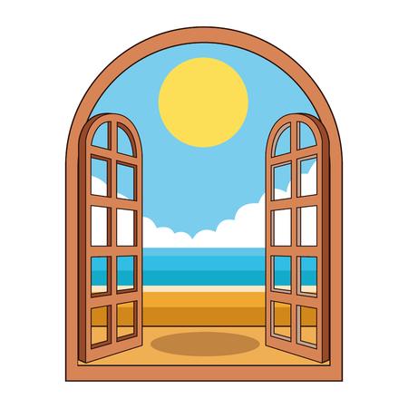 beach through the window icon cartoon vector illustration graphic design