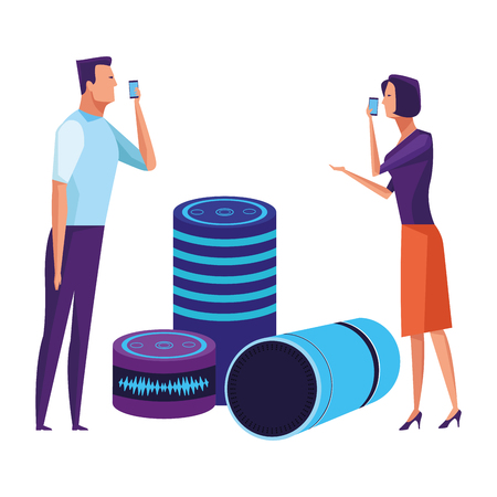 couple speaking through cellphone and cylindrical speakers avatar cartoon character vector illustration graphic design Illustration