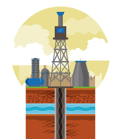 Fracking zone, oil pump with tank extracting petroleum from suboil with pipes. round icon vector illustration graphic design