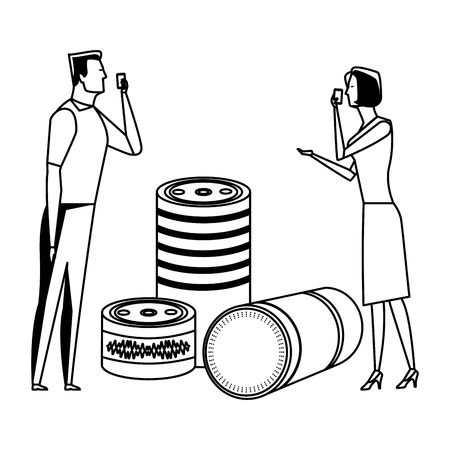 couple speaking through cellphone and cylindrical speakers avatar cartoon character black and white vector illustration graphic design Illustration