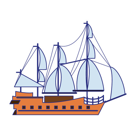 Pirate ship boat side view isolated cartoon vector illustration graphic design