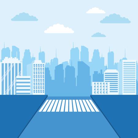Städtische Stadtbildlandschaft vom Straßenvektorillustrations-Grafikdesign