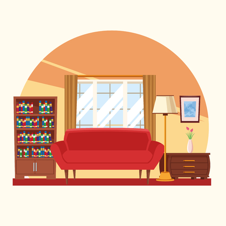 House interior with furniture scenery vector illustration graphic design