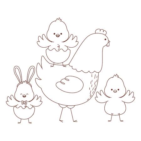 Grupo de polluelos de gallina de animales de granja feliz con cáscara de huevo temporada de pascua dibujo diseño gráfico de ilustración de vector de contorno blanco y negro Ilustración de vector