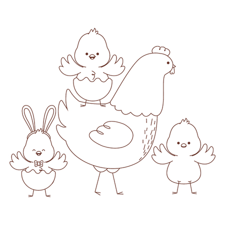 Happy  farm animals hen chicks group wearing eggshell easter season drawing black and white outline vector illustration graphic design 免版税图像 - 124341894