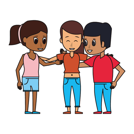 Friends embraced group of people cartoon vector illustration graphic design Illustration