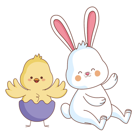 Happy farm animals white bunny and chick wearing eggshell easter season drawing vector illustration graphic design