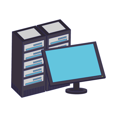 Computer monitor and servers database vector illustration graphic design Illustration