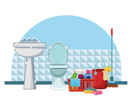 housekeeping cleaning bathroom products bucket supplies with broom and mop elements cartoon vector illustration graphic design Illustration