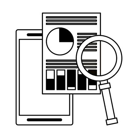 cellphone with documents and magnifying glass icon cartoon vector illustration graphic design