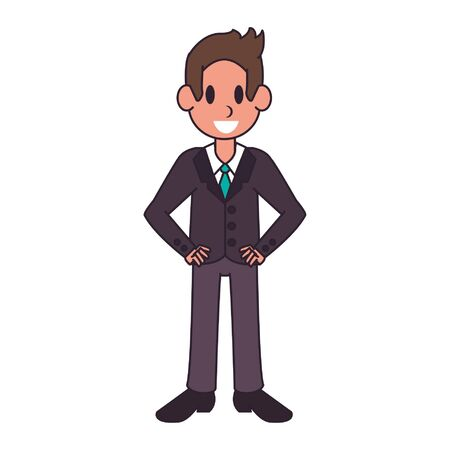 Executive businessman smiling character  worker cartoon vector illustration graphic design