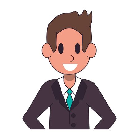 Executive businessman smiling character  worker cartoon profile vector illustration graphic design