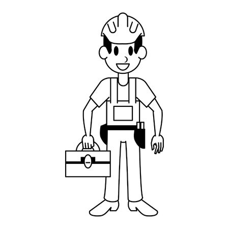 Construction worker with toolbox character  worker cartoon vector illustration graphic design