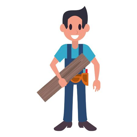 Carpenter with wooden plank and tools character  worker cartoon vector illustration graphic design