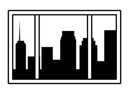 cityscape silhouette through the window icon cartoon black and white vector illustration graphic design