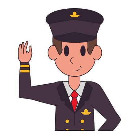 Commercial pilot greeting and smiling character  worker cartoon profile vector illustration graphic design