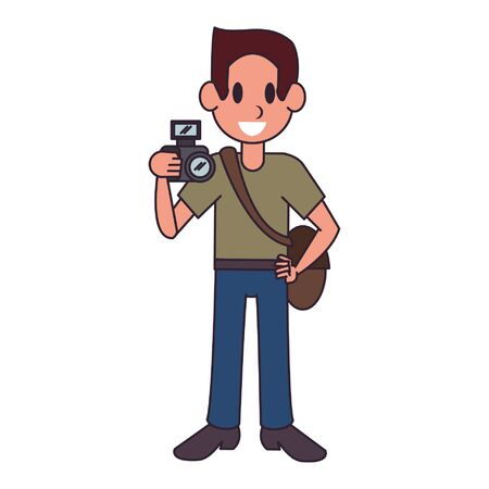 Photographer with camera character  worker cartoon vector illustration graphic design
