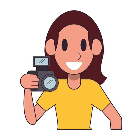 Photographer with camera character  worker cartoon profile vector illustration graphic design Ilustracja