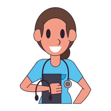 Doctor with clipboard and stethoscope character  worker cartoon profile vector illustration graphic design