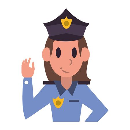 Police officer woman character  worker cartoon profile vector illustration graphic design