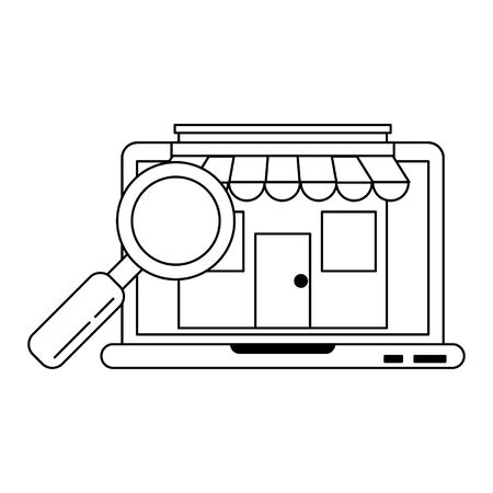 Laptop website browsing shopping with storefront and magnifying glass vector illustration graphic design Illustration
