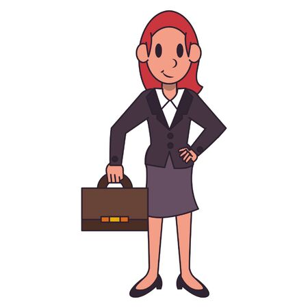 Businesswoman with briefcase character  worker cartoon vector illustration graphic design