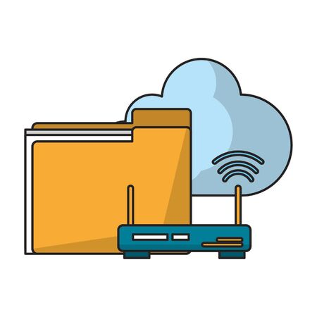 documents router and cloud icon cartoon vector illustration graphic design