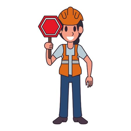 Construction worker with roadsign character  worker cartoon vector illustration graphic design