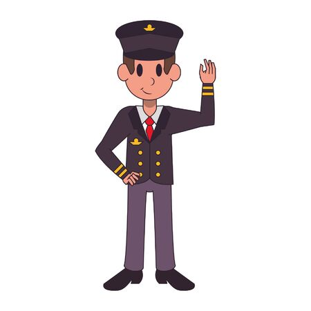 Commercial pilot greeting and smiling character  worker cartoon vector illustration graphic design