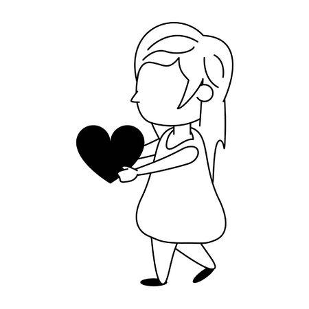 Beautiful girl with heart cartoon isolated vector illustration graphic design Illustration