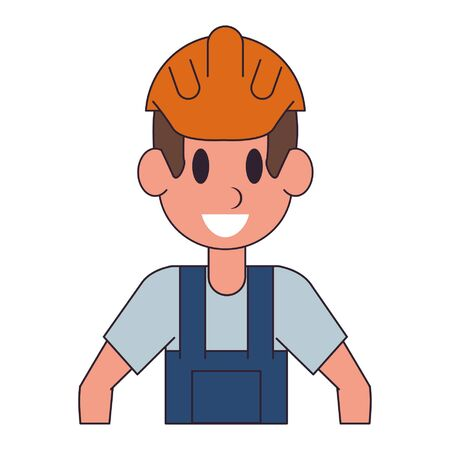 Construction worker character  worker cartoon profile vector illustration graphic design