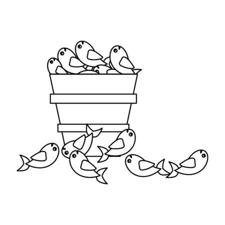 Fishes in bucket cartoon vector illustration graphic design Çizim